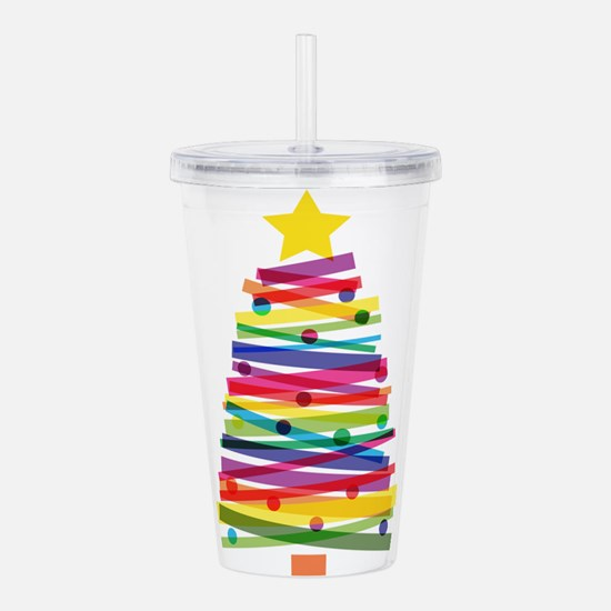 Colorful Christmas Tre Acrylic Double-wall Tumbler