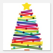 """Colorful Christmas Tree Square Car Magnet 3"""" x 3"""""""