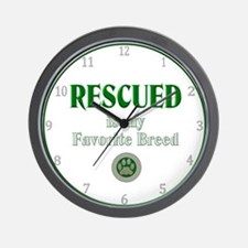 Rescued is my Favorite Breed Wall Clock