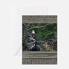 Old Cabin Window Bald Eagle Greeting Card