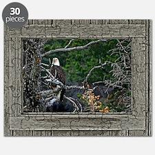 Old Cabin Window Bald Eagle Puzzle