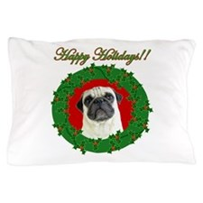 Happy holidays pug Pillow Case