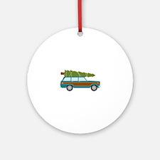 Christmas Tree Station Wagon Car Ornament (Round)