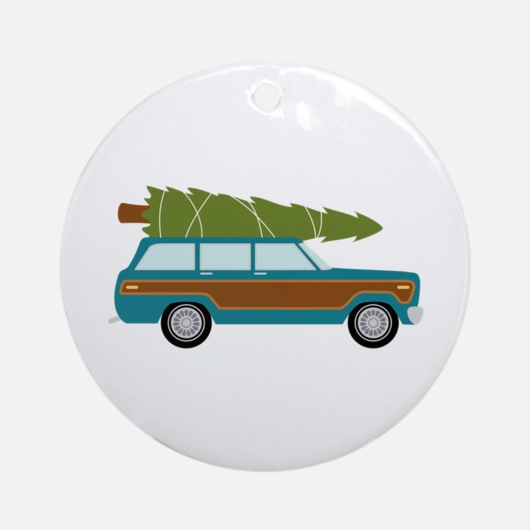 Christmas Tree Station Wagon Car Ornament (Round)