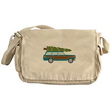 Christmas Tree Station Wagon Car Messenger Bag
