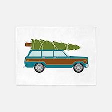 Christmas Tree Station Wagon Car 5'x7'Area Rug