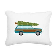 Christmas Tree Station Wagon Car Rectangular Canva