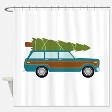 Christmas Tree Station Wagon Car Shower Curtain