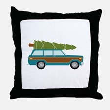 Christmas Tree Station Wagon Car Throw Pillow