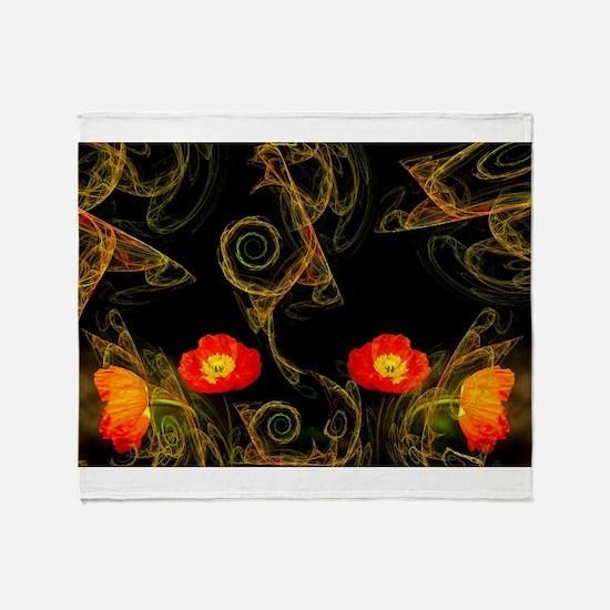 Decorative poppy Throw Blanket