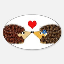 Cuddley Hedgehog Couple with Heart Decal