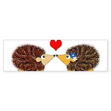 Cuddley Hedgehog Couple with Heart Bumper Bumper Sticker