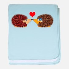 Cuddley Hedgehog Couple with Heart baby blanket