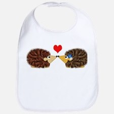 Cuddley Hedgehog Couple with Heart Bib