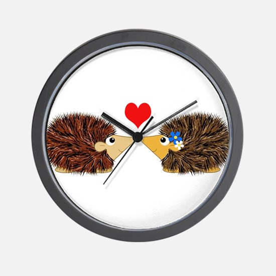 Cuddley Hedgehog Couple with Heart Wall Clock