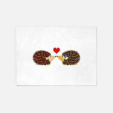 Cuddley Hedgehog Couple with Heart 5'x7'Area Rug