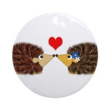 Cuddley Hedgehog Couple with Hear Ornament (Round)