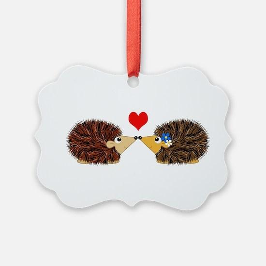 Cuddley Hedgehog Couple with Hear Ornament