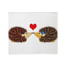 Cuddley Hedgehog Couple with Heart Throw Blanket