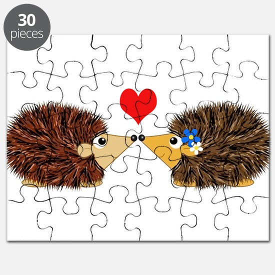 Cuddley Hedgehog Couple with Heart Puzzle