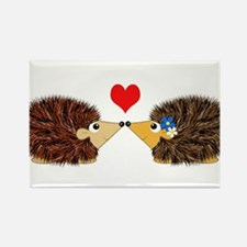 Cuddley Hedgehog Couple with Heart Magnets