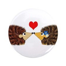 "Cuddley Hedgehog Couple wit 3.5"" Button (100 pack)"