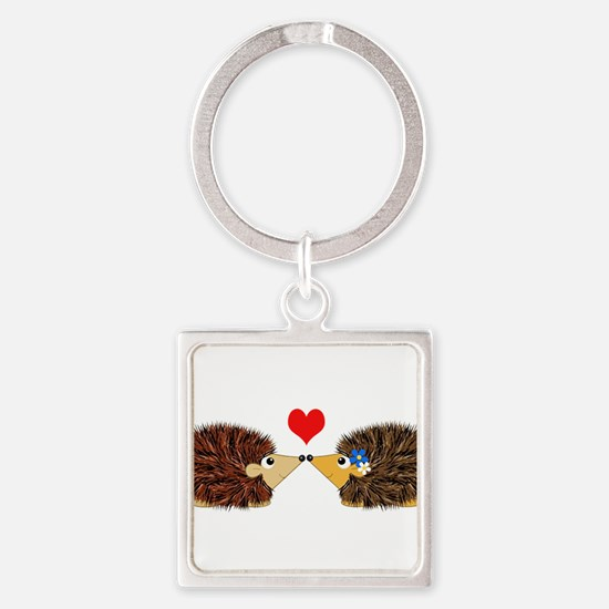 Cuddley Hedgehog Couple with Heart Keychains