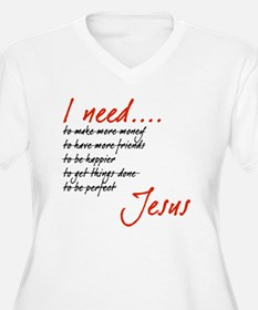 I Need Jesus Black and Red Plus Size T-Shirt