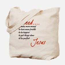 I Need Jesus Black and Red Tote Bag