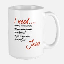 I Need Jesus Black and Red Mugs