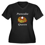 Pancake Quee Women's Plus Size V-Neck Dark T-Shirt