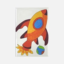 Rocket Ship Rectangle Magnet