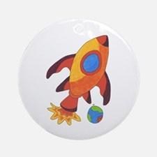Rocket Ship Ornament (Round)