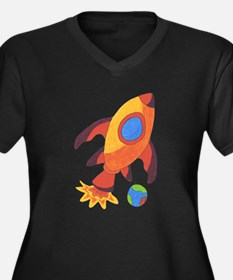 Rocket Ship Women's Plus Size V-Neck Dark T-Shirt