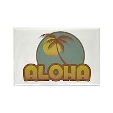 Aloha Palm Rectangle Magnet