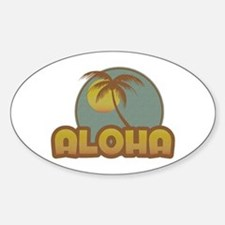 Aloha Palm Oval Bumper Stickers