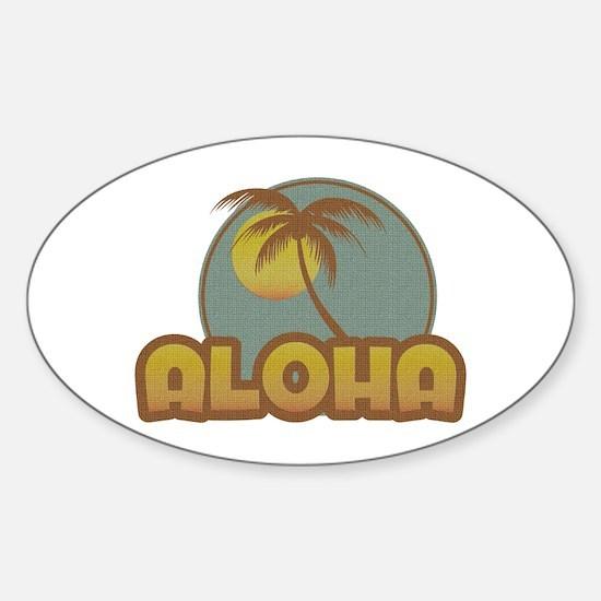 Aloha Palm Oval Decal
