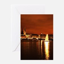 Christmas Tree on the Alster Greeting Cards