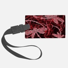Neon Red Dragonflies Luggage Tag