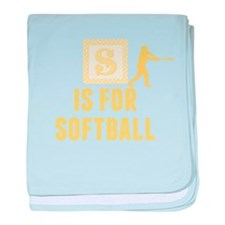 S Is For Softball baby blanket