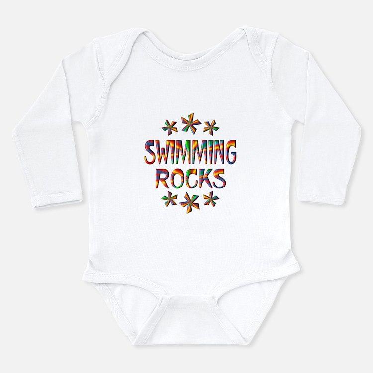 Swimming Rocks Long Sleeve Infant Bodysuit