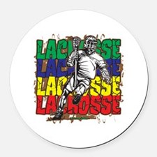 Lacrosse Action Round Car Magnet