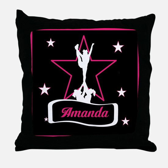 Pink and Black Cheerleader Throw Pillow