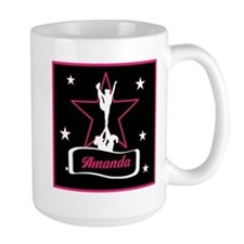 Pink and Black Cheerleader Mugs