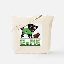 12th Pug Black (SPR) Tote Bag