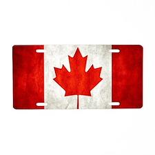 Vintage Canadian Flag Aluminum License Plate