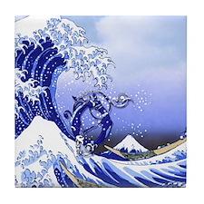 Monogram O Surf's Up! Tile Coaster
