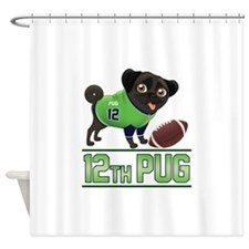 12th Pug Black (SPR) Shower Curtain