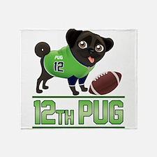 12th Pug Black (SPR) Throw Blanket