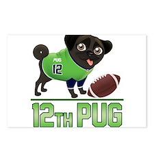 12th Pug Black (SPR) Postcards (Package of 8)